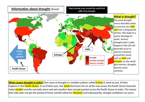 drought cause effects responses lesson geography science role play news