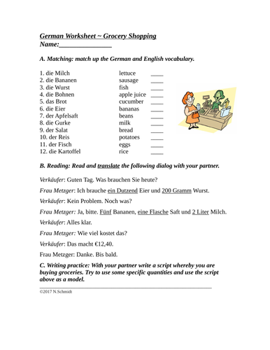 Das Essen / Im Supermarkt - German Grocery Worksheet and Partner Activity