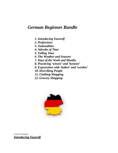 German Beginner Resources: 12 Handouts, Worksheets & Partner Activities