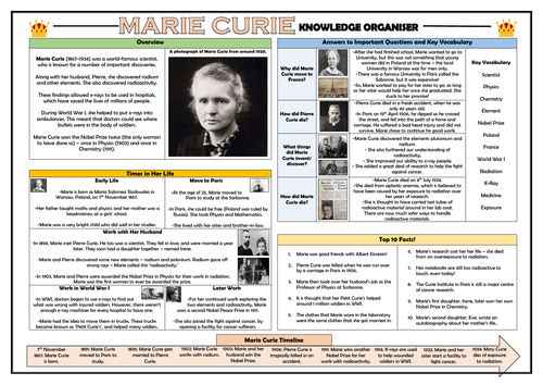 Marie Curie Knowledge Organiser!