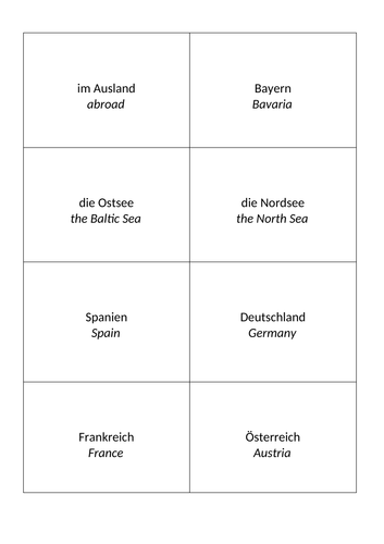 GCSE German Vocabulary Stimmt! Chapter 6 - Flashcards