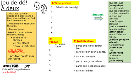 dice game in pairs: build sentences together (going places in town and giving reasons in French)