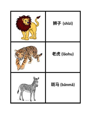 动物园动物 Dòngwù (Zoo Animals in Chinese) Flashcard Games