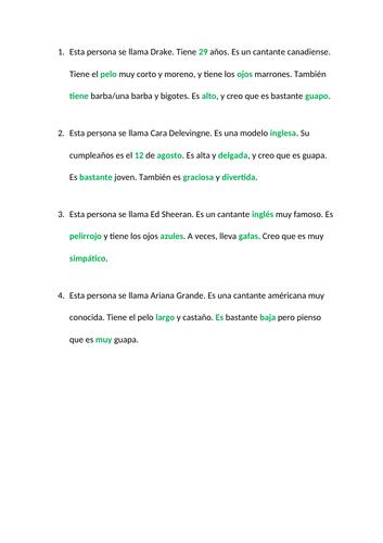 Spanish listening describing people beginners