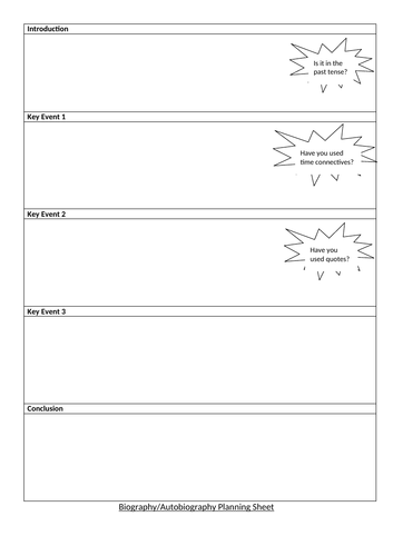 Biography/Autobiography Planning Sheet KS2