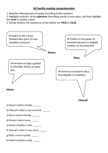 Descripciones de la familia short reading comprehension