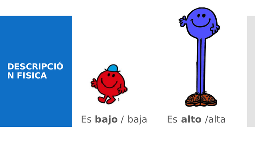 Flashcards to introduce vocab in Spanish physical descriptions
