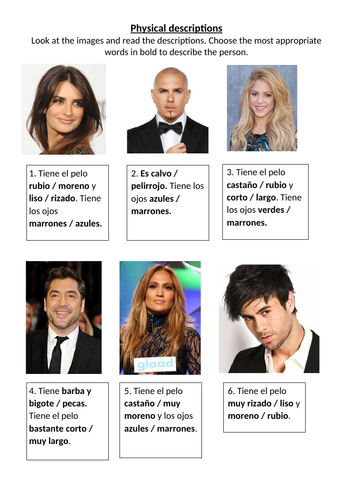 Physical descriptions of celebrities listening or reading comprehension and unscramble the sentences