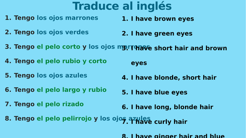 Sequence of interactive speaking activities on descriptions of hair and eyes Spanish