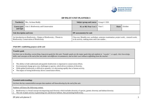 DP ESS Unit 3, 5, 6, 7, Lesson Plans
