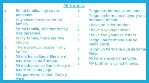 Mi familia oral drill activities Spanish beginners