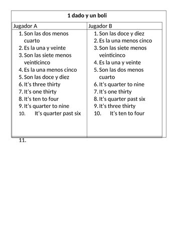 Telling the time 1 pen 1 dice game Spanish / La hora game by