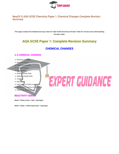 New (9-1) AQA GCSE Chemistry Electrolysis Complete Revision Summary