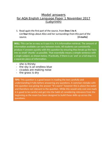 AQA GCSE English Language Paper 1 model answers (November 2017)
