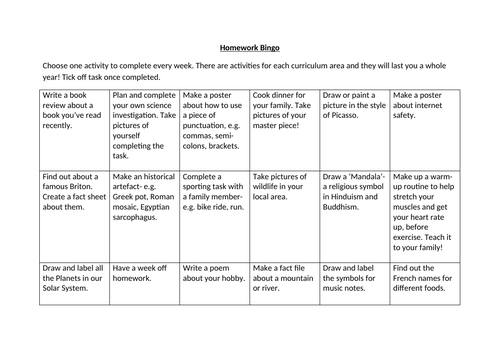 Homework Bingo, Key Stage 2