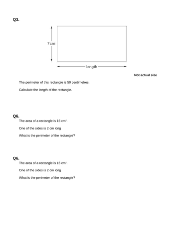 Area Reasoning Questions