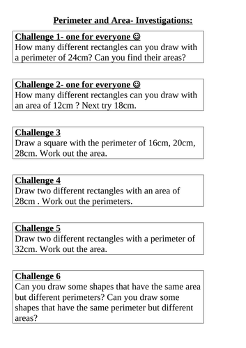 Perimeter & area challenges (year 5/6)