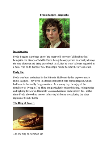 UKS2- WAGOLL biography (Frodo Baggins)