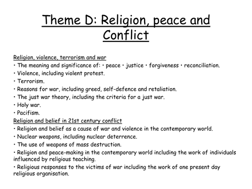 REVISION FOR WAR, PEACE AND CONFLICT AQA RS