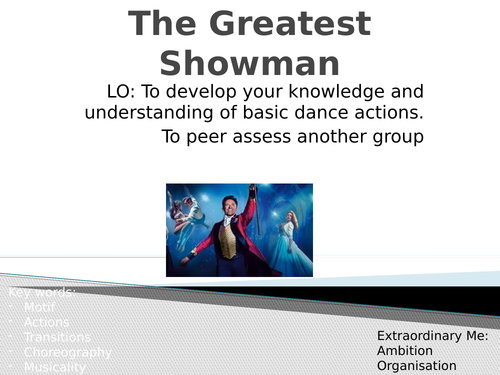 Greatest Showman Dance Scheme of Work - Full Lessons