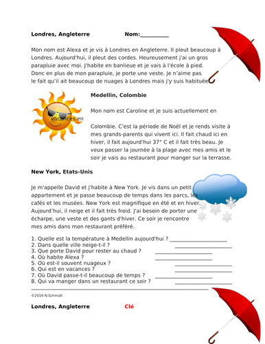French Reading on Weather, Seasons and Clothes: Le temps / Les vêtements