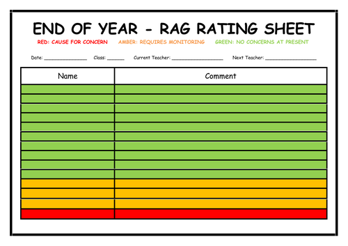 End of Year - Rag Rating Sheet
