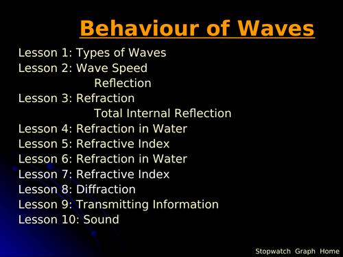 IGCSE Edexcel Physics P3 Waves Lesson and Questions