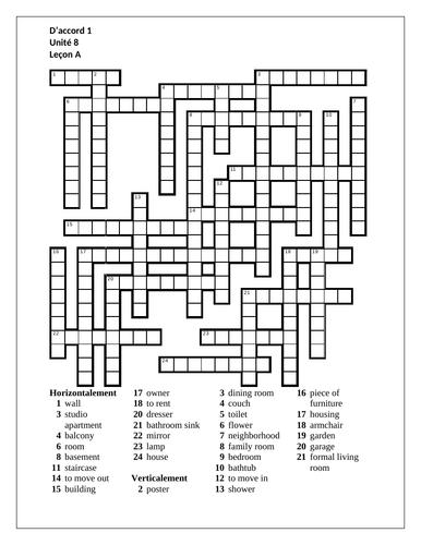 D'accord 1 Unité 8 Leçon A Crossword