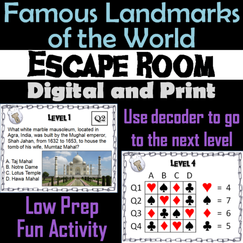 Famous Landmarks of the World: Escape Room Geography