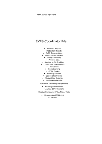 A co ordinator file suggested contents page