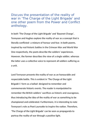 GCSE English Level 9 Poetry Model Essay- 'Bayonet Charge' vs. 'The Charge of the Light Brigade'