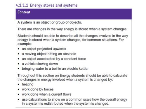 GCSE Energy Stores - AQA
