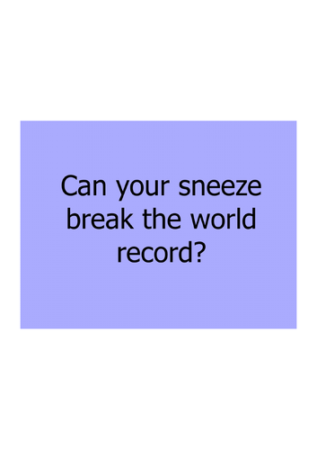 STEM: KS1 How far can a sneeze travel?