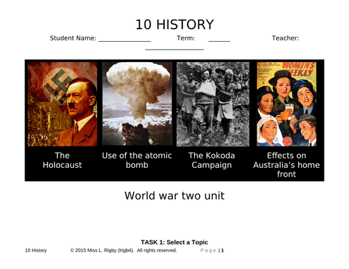 World War Two Inquiry Assessment Scaffolding Booklet