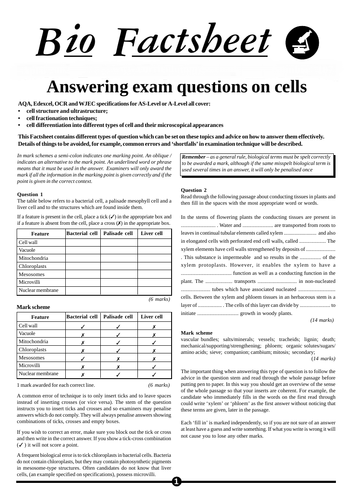 OCR A-Level Biology Cells Worksheet Including Answers