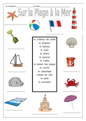 French - On the Beach at the Sea - Sur la Plage à la Mer - Worksheets