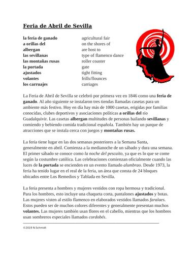 Feria de Abril de Sevilla Lectura y Cultura: Spanish Reading on Seville Fair