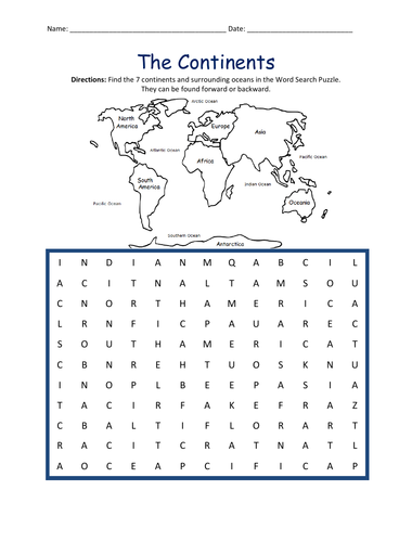THE CONTINENTS WORD SEARCH PUZZLE