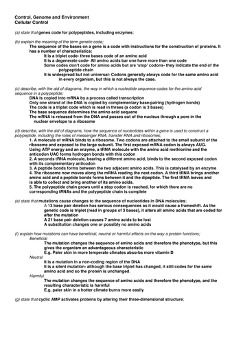 OCR A-Level Biology Genetics, Biotechnology, Ecosystems and Responses Notes