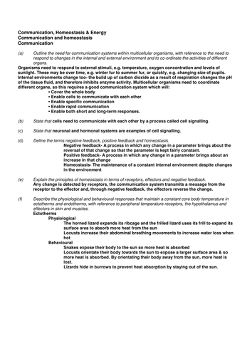 OCR A-Level Biology Nerves, Hormones, Homeostasis And Bioenergetics Notes