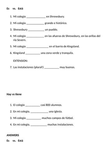 Ser or estar, haber or tener mi colegio / school Spanish