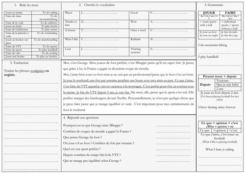 je joue - French - sport (Allez 1 8.1)