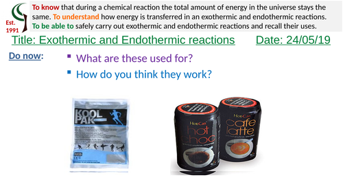 AQA Exothermic and endothermic reactions
