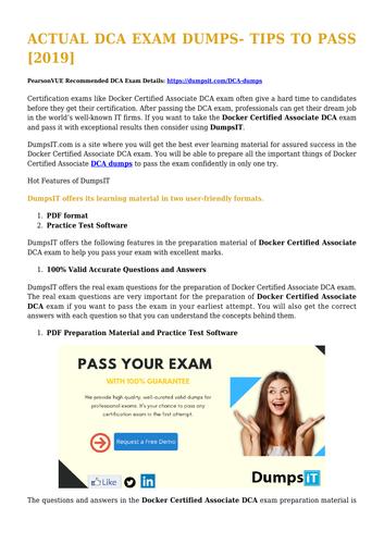 DCA Dumps Exam Updated 2019
