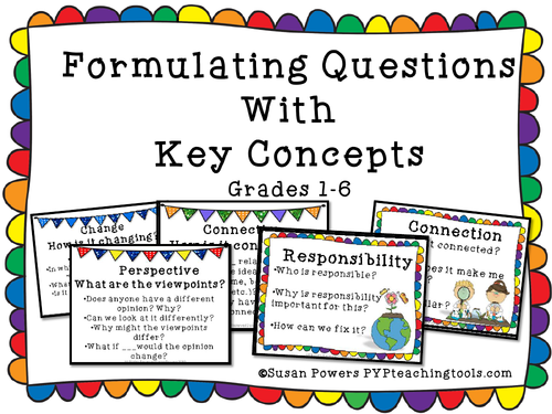 IB PYP Key Concepts Question Cards for Any Age Level
