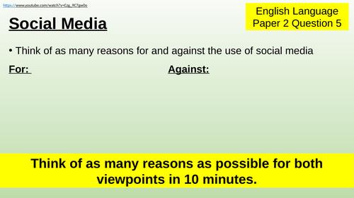 Social Media - argumentative writing