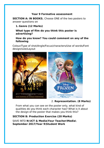 Year 9 Formative Assesment - Intro to Action Adventure