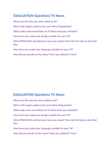Year 9 Intro to Bias in Media - TV News