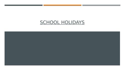 Functional Skills: School Holidays