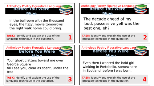 AQA Love and Relationships Anthology Task Cards